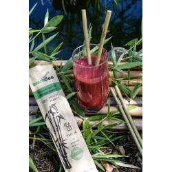Pack de 4 pajitas de bambú