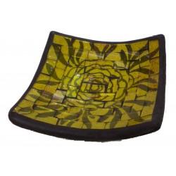 Jabonera Cuadrada de Cerámica en Mosaico Amarillo