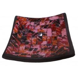Jabonera Cuadrada de Cerámica en Mosaico Rosa
